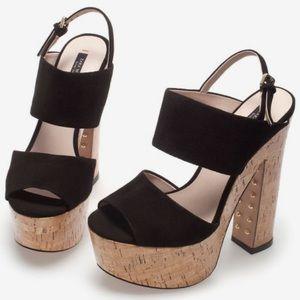 Zara Women's Cork/Faux Suede Stud Platform Sandals